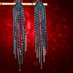 Amazing Blue Rhinestones Long Tassel Earrings